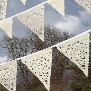 Beautiful wedding garland in cream lace effect, ivory fabric bunting, perfect outdoor decoration