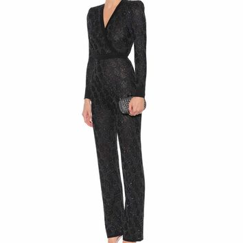 Sequinned knit jumpsuit