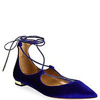 Aquazzura - Christy Velvet Lace-Up Flats - Saks Fifth Avenue Mobile