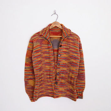 southwest sweater, southwest cardigan, southwestern sweater, southwestern cardigan space dye cardigan rust red 70s sweater 70s cardigan m l
