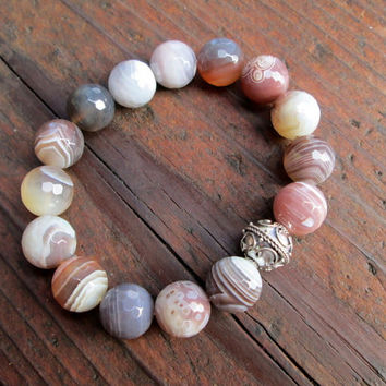 Botswana Agate & Sterling Silver Bracelet Faceted Bead Bracelet Gemstone Bracelet Colorful Striped Bracelet Stretchy Boho Beach Jewelry