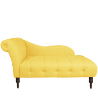 Made-to-Order Yellow One-arm Tufted Chaise Lounge