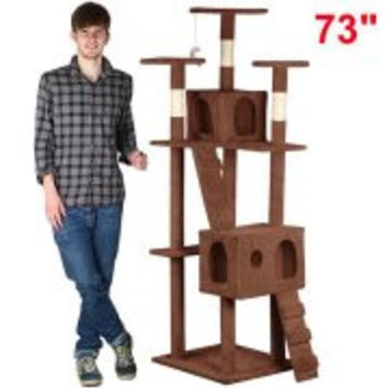 3 Platform Large Cat Tree Condo Furniture,73-Inch, Brown