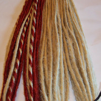 30 DE Synthetic Dreads Sweet Red Platinum Blonde Hair Extensions Dreadlock Kit or Falls
