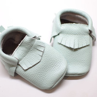 So Minty- Baby Moccasins