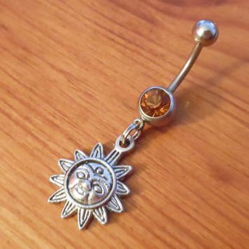 Belly button ring - Sun with Orange Gem belly button ring