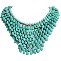 Turquoise Bib Statement Necklace Beaded Jewelry
