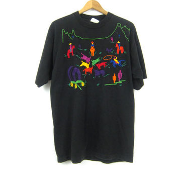 Vintage Embroidered Cowboys Cattle Rancher Tshirt Black Horses Embroidery Tee Shirt Novelty Urban Street Hipster Womens Large XL