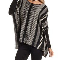 Black/Ivory Mixed Stripe Poncho Sweater by Charlotte Russe