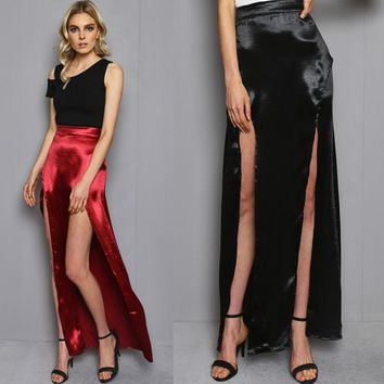 Split Skirt Club Simple Design Sexy Prom Dress [52179959834]