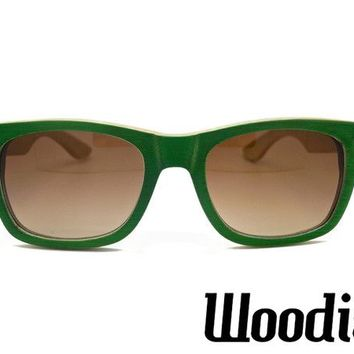 Green Bamboo Wood Sunglasses