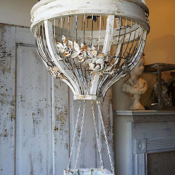 Hanging hot air balloon birdcage home decor wood wire cream large ornate shabby cottage chic rust cream wedding bird cage anita spero design