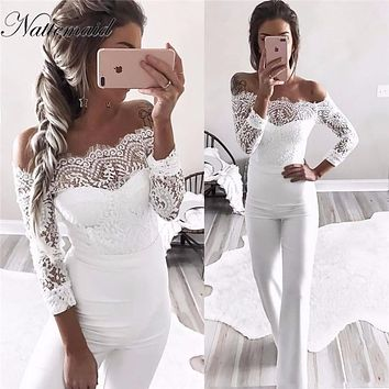 NATTEMAID Elegant Off shoulder Lace Rompers Womens Summer Jumpsuit Ladies Casual Long Trousers Overalls White Jumpsuit