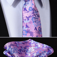 "TF2005T8 Purple skinny floral 3.4"" 100%Silk Woven Slim Skinny Narrow Men Tie Necktie Handkerchief Pocket Square Suit Set"