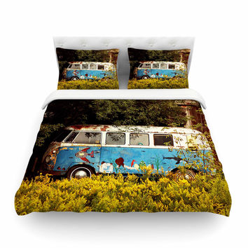 "Angie Turner ""Hippie Bus"" Blue Yellow Featherweight Duvet Cover"