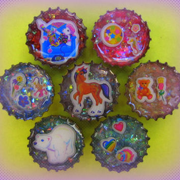 Upcycled Resin Bottle Cap Magnets LF Rainbow Animal Medley Handmade Recycled Reclaimed Repurposed Ceramic Magnet