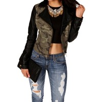 Camouflage Faux Leather Moto Jacket