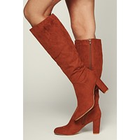 Kendall Faux Suede Boots (Chestnut)