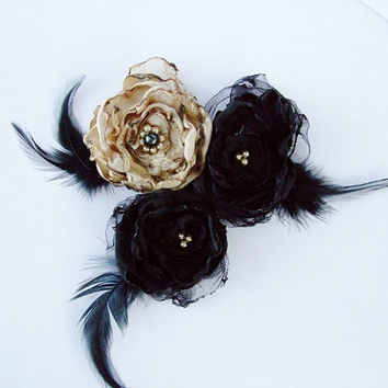 Wedding Hair Flowers, Black and Beige Flowers with tulle and feathers, Bridal Sash, Maternity Sash