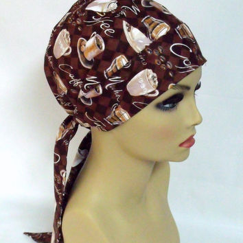 Pixie Scrub Cap | Women's Surgical Hat | Chemo Head Cover | Coffee Print | Large