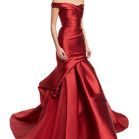 Monique Lhuillier Off-the-Shoulder Ruched Mikado Gown