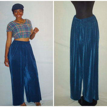 Vintage 1990s Blue Palazzo Pants Satin Small Pleats