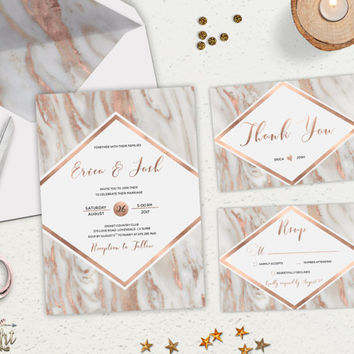 Geode Wedding Invitation Printable Rose Gold Wedding Invitation Suite Marble Wedding Invite Blush Grey Modern Wedding Set Digital or Printed