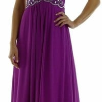 Full Length Chiffon Dress in Orchid Illusion Neck Cap Sleeves (3 Colors Available)