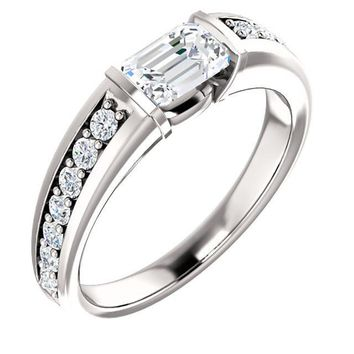 0.75 Ct Emerald Accented Diamond Engagement Ring 14k White Gold