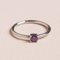 SILVER PURPLE GEM RING