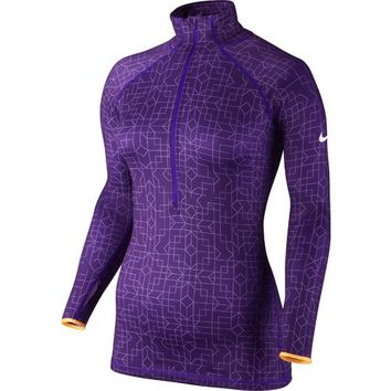 Nike Women's Pro Hyperwarm Half-Zip II Print Jacket
