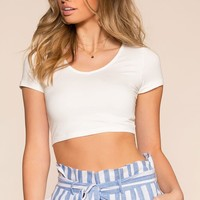 Easy Daze Crop Top - White