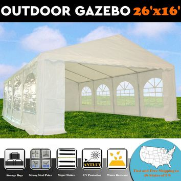 26'x16' PE White Tent - Heavy Duty Wedding Party Canopy Carport with Storage Bags - By DELTA Canopies