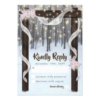 Rustic Winter Outdoor Wedding Arbor RSVP Card