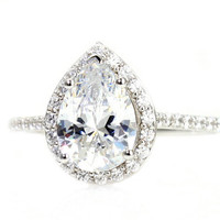 Moissanite Engagement Ring Diamond Halo Custom Pear Setting 14K 18K White Yellow Rose Gold Platinum Bridal Jewelry