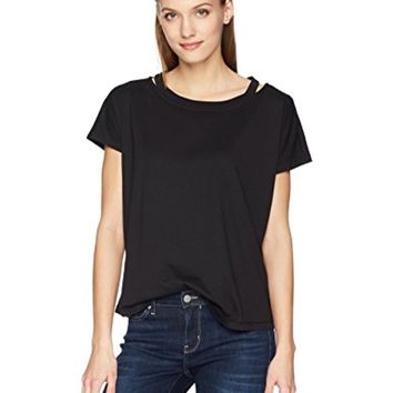 Calvin Klein Women's Short Sleeve T-Shirt With Cut Out Crew Neck