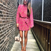 Dusty Rose Bell Sleeve Romper