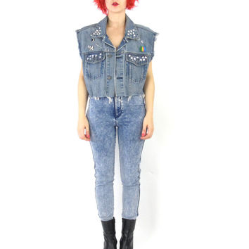 90s Bedazzled Cropped Denim Vest Gap Kawaii Punk Vest Jewels Glitter Safety Pins D.I.Y. Distressed Frayed Jean Tank Crop Top (L/XL)