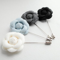 40mm Wool Camellia Flower Boutonniere/Buttonhole For Wedding,Lapel Pin,Hat Pin,Tie Pin