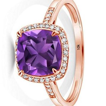 CERTIFIED 2.05 Ct Cushion Purple Amethyst 10K Rose Gold Engagement Ring