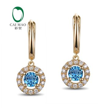 14KT Yellow Gold 0.76ct  Flawless 4mm Round Topaz & Diamond Drop Earrings