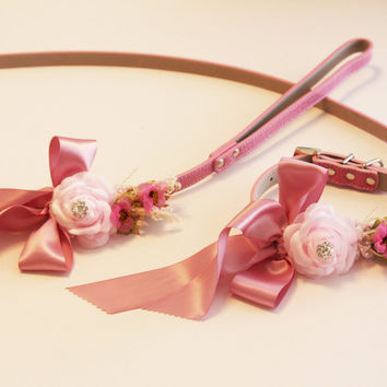 Pink Leash and collar , Pink Pet Wedding accessory, High quality Leather, Pink wedding accessory, Dog Leash and Floral Collar