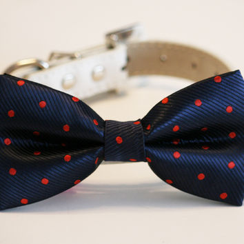 Navy and Red Dog Bow Tie, Polka dots Navy wedding, Dog birthday gift