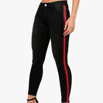 Tamara Sports Stripe Jeans | Boohoo