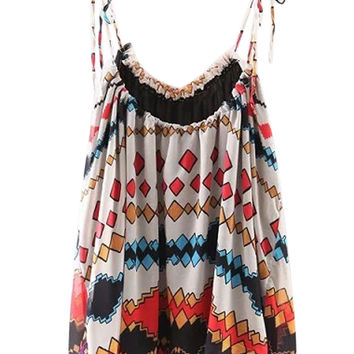 Multicolor Geo-tribal Pattern Swing Cami Top
