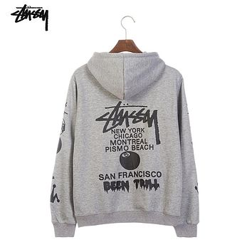 Stussy world parade classic print men and women hooded sweater grey