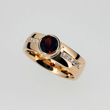 Garnet engagement ring made from yellow gold, bezel, wide engagement ring, garnet solitaire, diamond ring, red gemstone, anniversary, unique