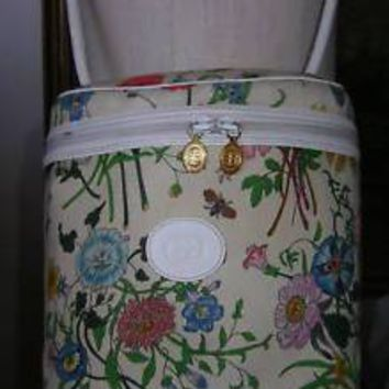 GUCCI Vintage FLORA HANDBAG Canvas Leather Purse White Floral Bucket Bag BEAUTY!