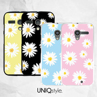 Daisy flower floral pattern phone case - Moto G case - Moto X case - Moto E case - 4 colors available - free screen protector included - I24