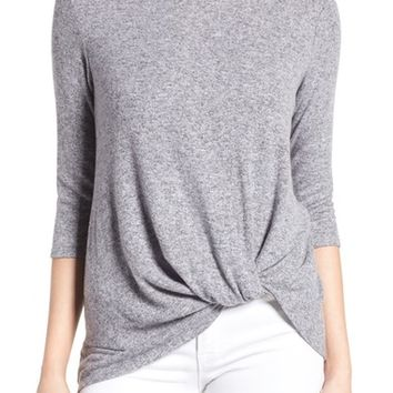 Gibson Twist Front Cozy Fleece Pullover (Regular & Petite) | Nordstrom